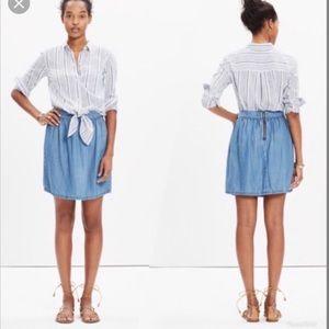 Madewell Faded Indigo Chambray Skirt Blue